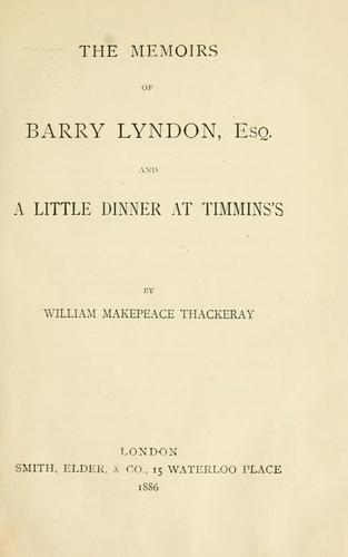 Download The memoirs of Barry Lyndon, esq.
