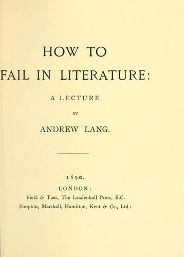 Download How to fail in literature