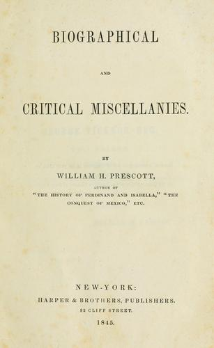 Download Biographical and critical miscellanies