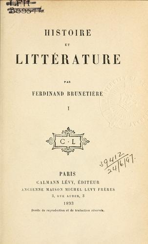 Histoire et littérature.