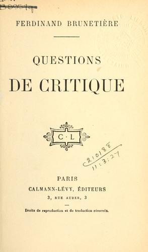 Questions de critique.