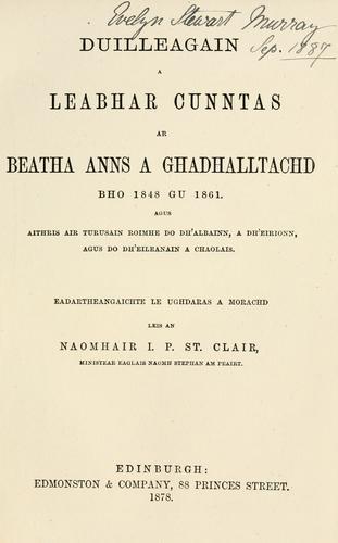 Download Duilleagain a leabhar cunntas ar beatha anns a Ghadhalltachd bho 1848 gu 1861