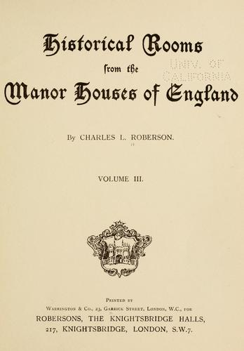 Download Historical rooms from the manor houses of England
