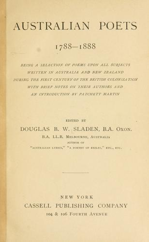 Download Australian poets, 1788-1888
