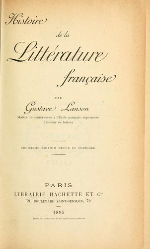 Histoire de la littérature française.