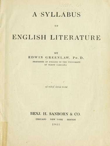 Download A syllabus of English literature.