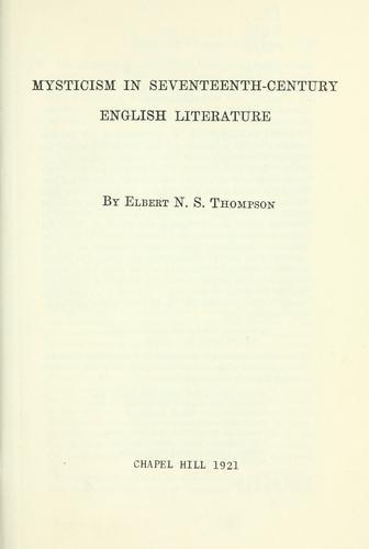 Download Mysticism in seventeenth-century English literature.