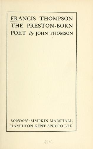 Download Francis Thompson the Preston-born poet