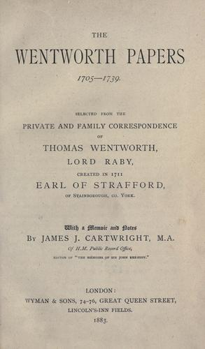 The Wentworth papers, 1705-1739