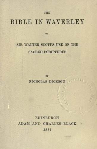 Download The Bible in Waverley : or Sir Walter Scott's use of the Sacred Scriptures