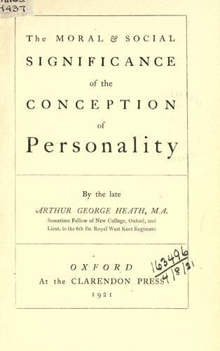 Download The moral and social significance of the conception of personality.