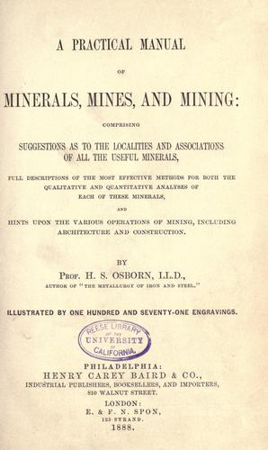 Download Practical manual of minerals, mines and mining