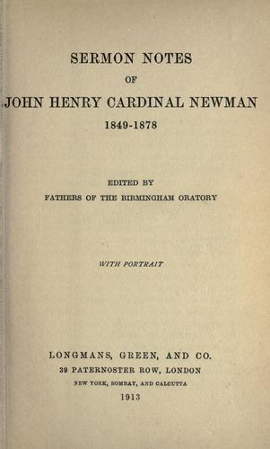 Download Sermon notes of John Henry Cardinal Newman, 1849-1878