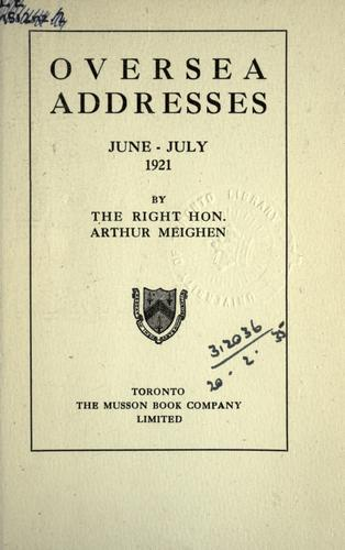 Download Oversea addresses, June – July 1921
