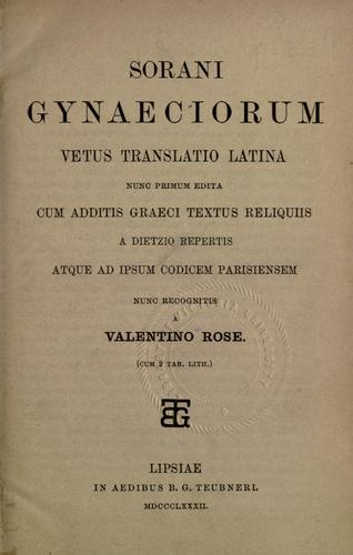 Download Gynaeciorum vetus translatio latina