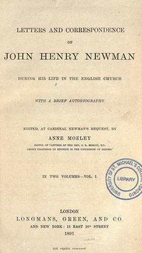 Download Letters and correspondence of John Henry Newman