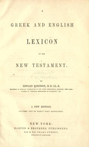 Download A Greek and English lexicon of the New Testament