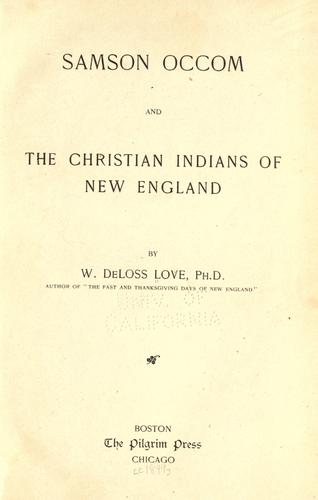 Download Samson Occom, and the Christian Indians of New England