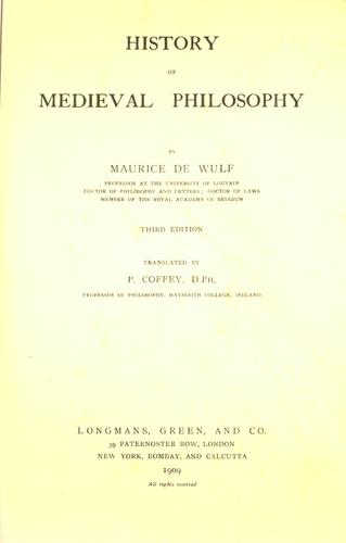 Download History of medieval philosophy