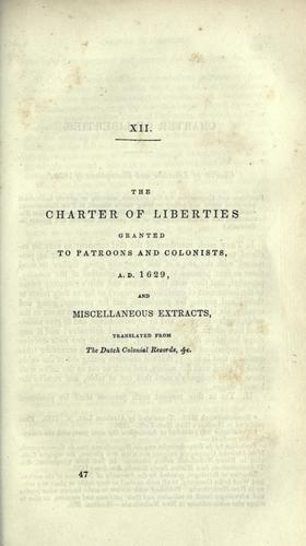 Download The charter of liberties granted to patroons and colonists, A.D. 1629