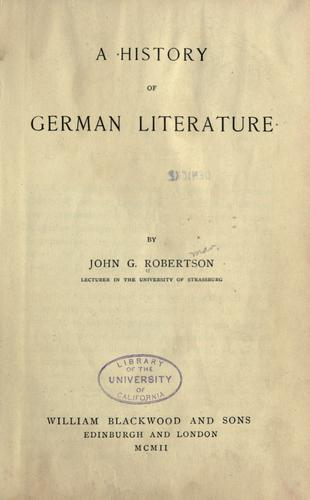 A history of German literature