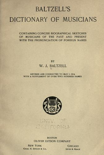 Baltzell's dictionary of musicians