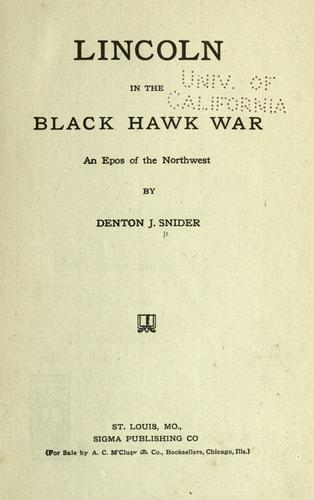 Download Lincoln in the Black Hawk war