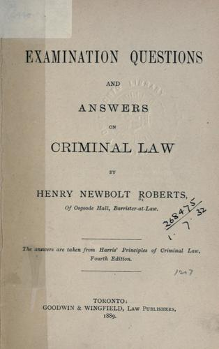 Examination questions and answers on criminal law