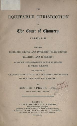 The equitable jurisdiction of the Court of Chancery