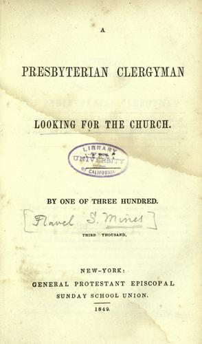 A Presbyterian clergyman looking for the church