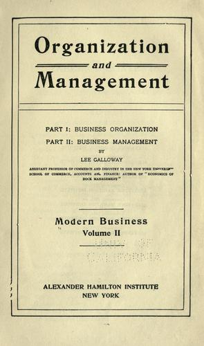 Organization and management.