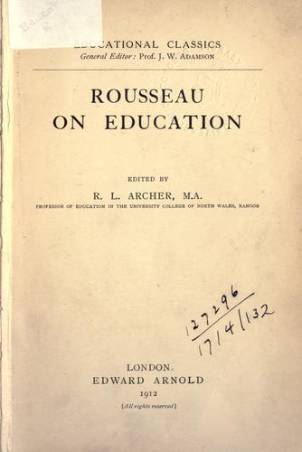 Download Rousseau on education