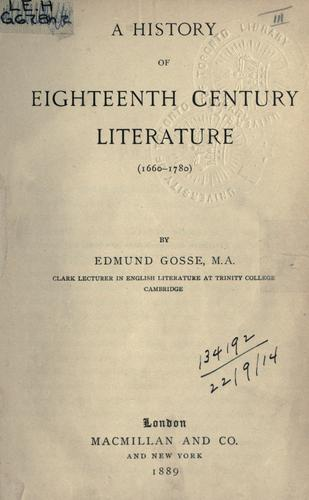 Download A history of eighteenth century literature, 1660-1780.