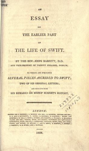 An essay on the earlier part of the life of Swift