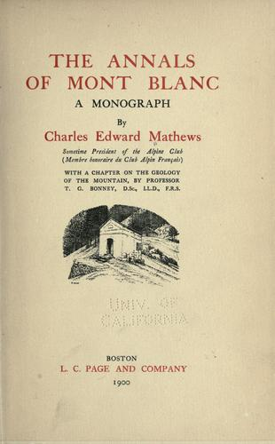 Download The annals of Mont Blanc