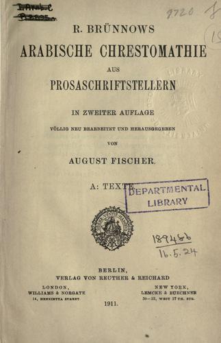 Download Arabische Chrestomathie aus Prosaschriftstellern, hrsg. von August Fischer.