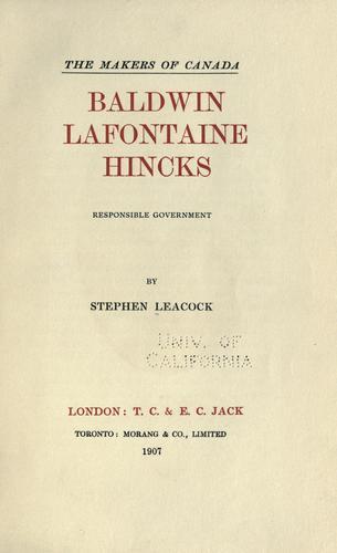 Download Baldwin, Lafontaine, Hincks