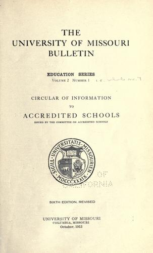 Circular of information to accredited schools