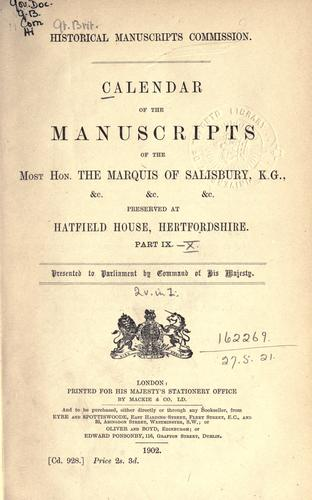 Download Calendar of the manuscripts of the Most Hon. the Marquess of Salisbury, K.G. etc.