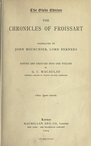 Download The Chronicles of Froissart