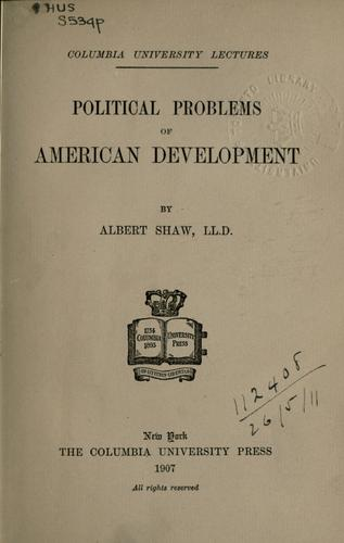 Download Political problems of American development.