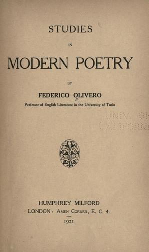 Download Studies in modern poetry