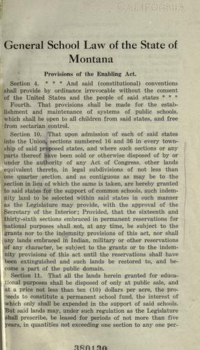 Download School laws of the state of Montana.