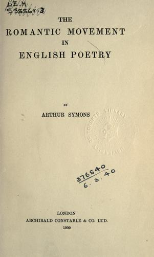 Download The romantic movement in English poetry.