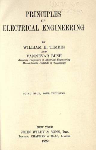 Principles of electrical engineering.