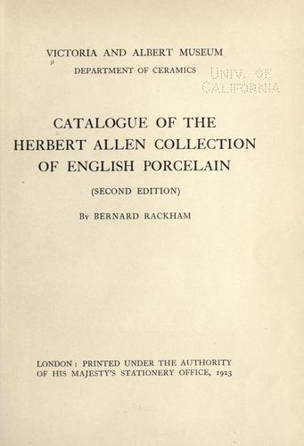 Download Catalogue of the Herbert Allen collection of English porcelain
