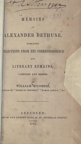 Memoirs of Alexander Bethune