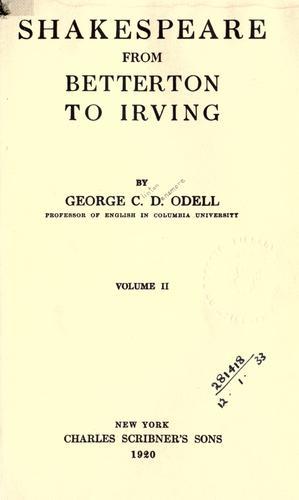 Shakespeare from Betterton to Irving.