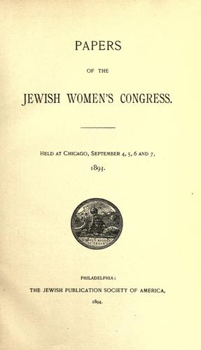 Papers of the Jewish Women's Congress.