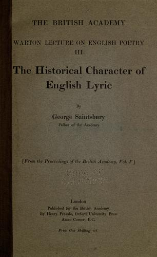 Download The historical character of English lyric